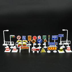 28pcs Car Toy Accessories Traffic Road Signs For Kid Childre