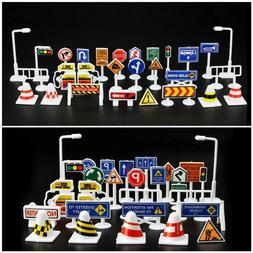 28Pcs Car Toy Accessories Traffic Road Signs Kids Child Play