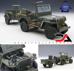 AUTOART 74016 1:18 JEEP WILLYS ARMY GREEN WITH TRAILER AND A