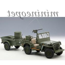 AUTOart 74016 JEEP WILLYS ARMY 1/18 with TRAILER AND ACCESSO