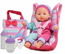 Baby Doll Car Seat with Toy Accessories, Includes 12INCH Sof