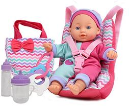 Baby Doll Car Seat with Toy Accessories, Includes 12 Inch So