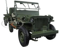 Jeep Willys Army Green with Trailer and Accessories 1/18 by