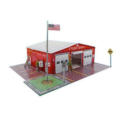 1/64 Slot Car HO Fire Department Photo Real Kit Track Layout