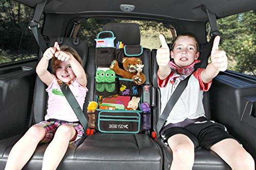 Car Organizer Seat | Eco-Friendly & Strong | Protects Backseat Kids eBook for Toys, Travel Phone Tablet Baby Shower Gift Box