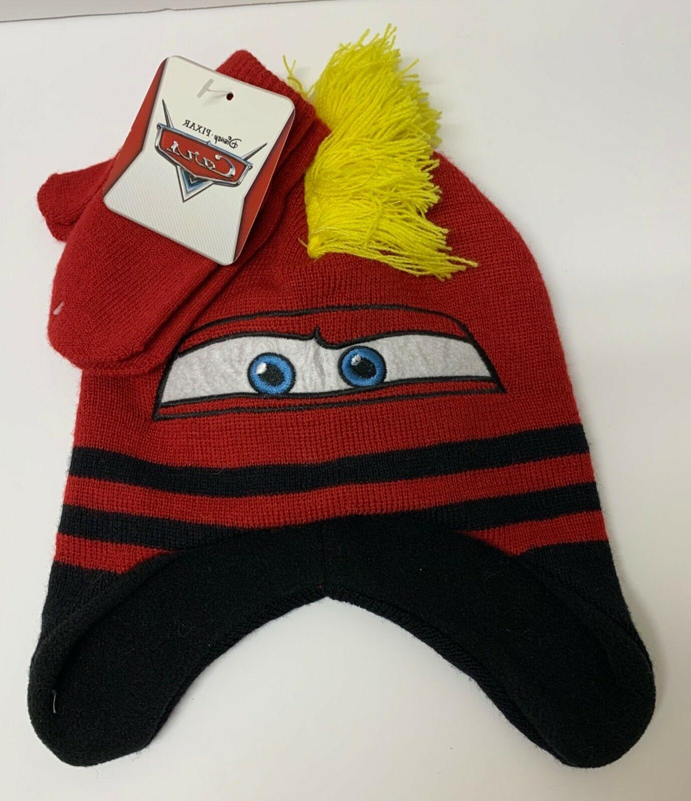 cars boys beanie and mittens set toddler
