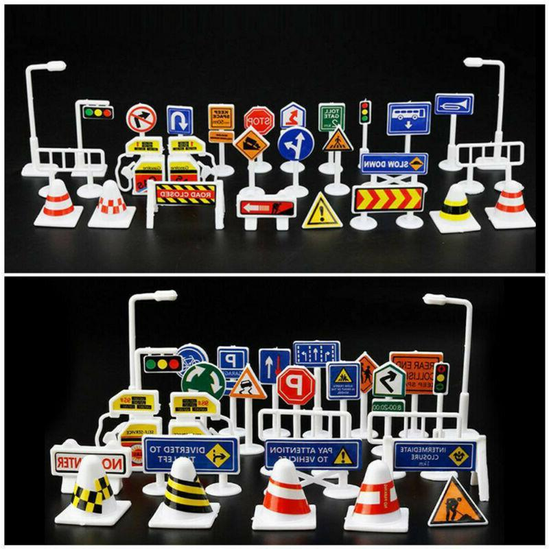 28 Pcs Car Toy Accessories Traffic Road Signs Kids Children