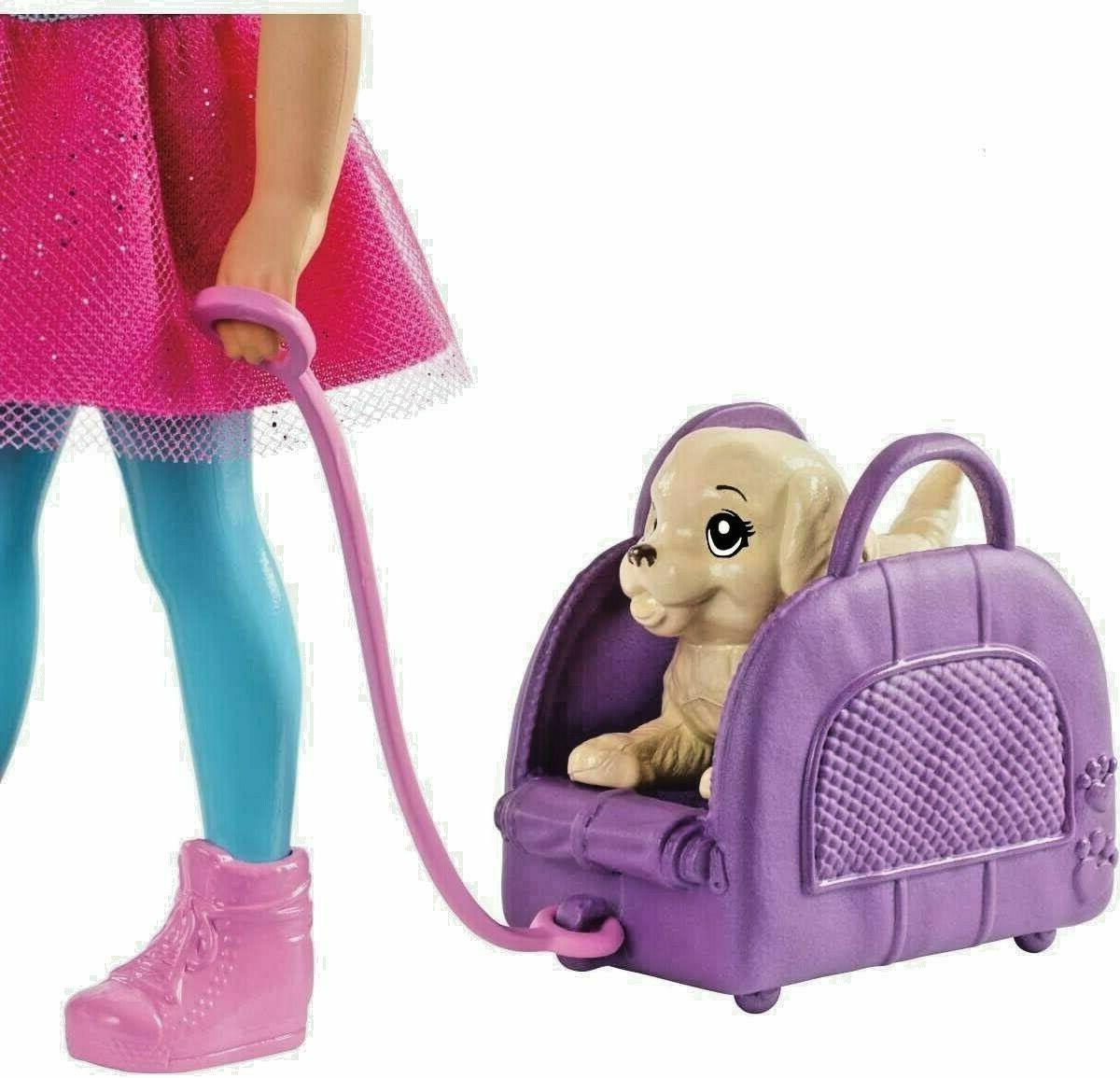 New Travel Doll with Puppy, Carrier Accessories!