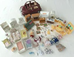 LARGE LOT CALICO CRITTERS CAR KITCHEN FURNITURE FOODS ACCESS