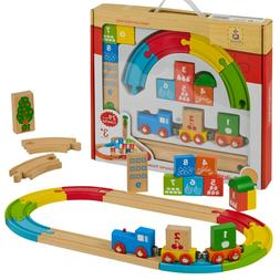 My First Wooden 29pc Kids Train Set Railway Track Toy Brio B