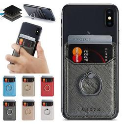 Universal Leather Card Holder Pocket+Ring Stand Adhesive Sti